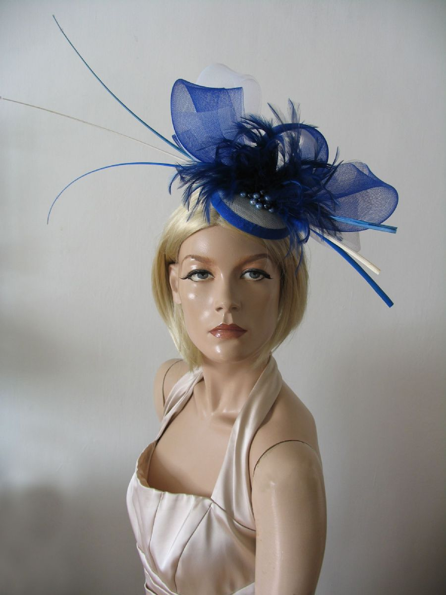 Royal Blue and White Ostrich Quill Goose Biot and Crin Large Fascinator